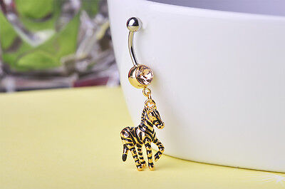 Navel Belly Bar Crystal Dangly Body Piercing Button gold plated zebra horse