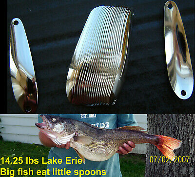 """2 3/8"""" Nickel Smooth Trolling Flutter Spoons Lake Erie Walleye Candy"""
