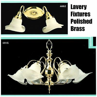 LAVERY POLISHED BRASS & EUROPEAN GLASS Sconce Chandelier 2-Light 6-Light NEW NOS