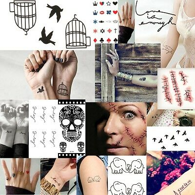 Black Temporary Tattoos Body Art Transfers Tatts Flash Skulls Birds Infinity