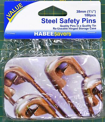 HabeeSavers Steel Safety Pins, 38mm, 100 Pieces Value Pack, Re-Usable Hinged Tin