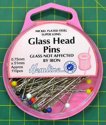 Hemline Glass Head Pins 51mm x 0.75mm, Approx 110 Pins, Nickle Plated Extra long