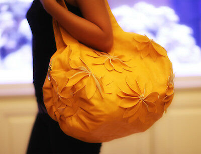 Ladies Hand Bag Tote Flower - Handmade Shoulder Fashion Pu Leather Bag - Yellow