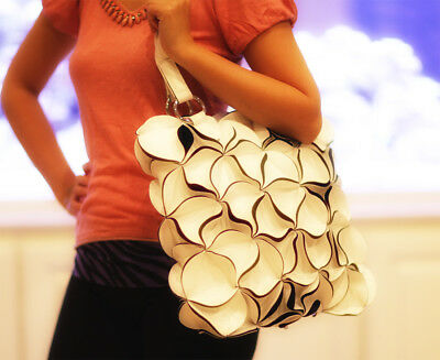 Ladies Hand Bag Tote Flower - Handmade Shoulder Fashion Pu Leather Bag - White