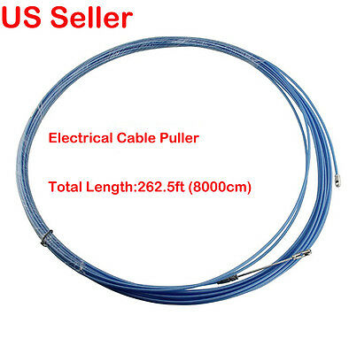 262.5ft Nylon Fish Tape Electrical Cable Puller Blue for Electrican/Conduit