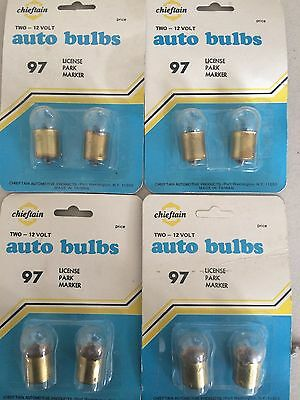 (4) packs of 2 # 97 Cheiftain Bulbs Two-12 Volts License Park Marker