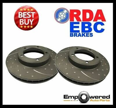 DIMPLED SLOTTED FRONT DISC BRAKE ROTORS for Mitsubishi EVO 6 7 8 9 1996-2009