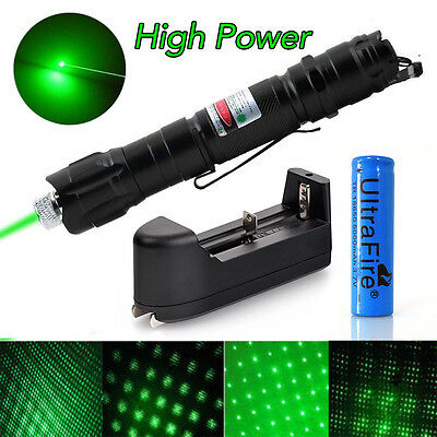 Military Green Laser Pointer 5mw 532nm Beam Star Cap +18650 Battery+Charger USA