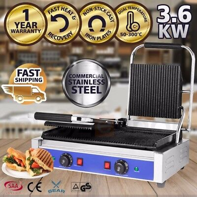 SEAR Commercial Sandwich Press Contact Grill Griddle Toaster Ribbed