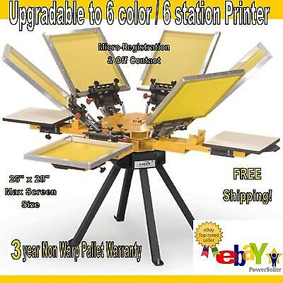 Vastex V-1000 Screen Printing Press 4 Station/6 Color