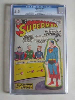Superman #147 1961 CGC 5.5 OW/W Pages