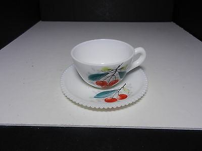 Westmoreland Beaded Edge Cup & Saucer Set Cherries  ca 1953-1985