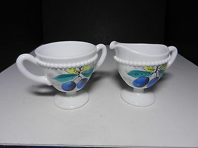 Westmoreland Beaded Edge Footed Cream & Sugar Set  Plums ca 1953-1985