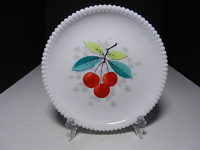 "Westmoreland Beaded Edge Salad Plate Cherries 7 3/8"" D ca 1953-1985"