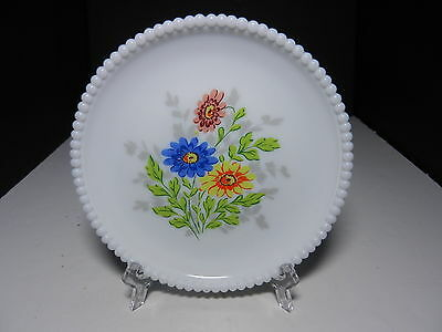 "Westmoreland Beaded Edge Salad Plate Flower Bouquet Decal 7 3/8"" D ca 1953-1985"
