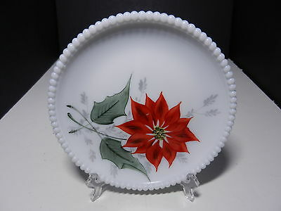 "Westmoreland Beaded Edge Salad Plate Poinsetta 7 3/8"" D ca 1953-1985"