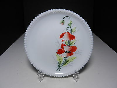"Westmoreland Beaded Edge Salad Plate Poppies 7 3/8"" D ca 1953-1985"