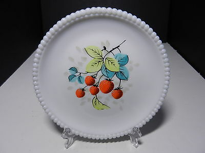 "Westmoreland Beaded Edge Salad Plate Strawberries 7 3/8"" D ca 1953-1985"