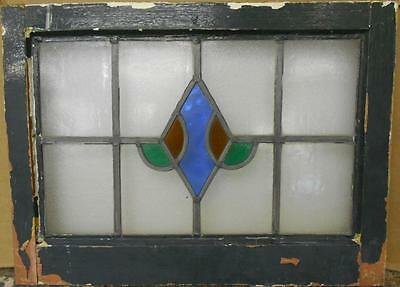 "OLD ENGLISH LEADED STAINED GLASS WINDOW Nice Diamond Design 22"" x 16.25"""