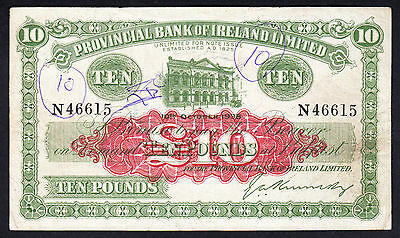 Northern Ireland Provincial Bank 10 Pounds  £10 1938 P. 237a SCARCE NOTE aVF