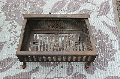 Antique Cast Iron Fireplace Insert Coal Wood Log Holder W/Wheels-Flower Planter