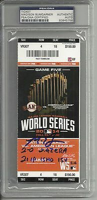 Madison Bumgarner Ip Auto Signed 2014 Game 5 Ws Ticket 5 Stats Psa/dna Slabbed 1