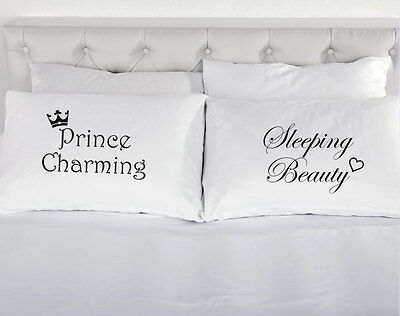 Prince Charming Sleeping Beauty Couples Pillow Cases Pillowcases Present Gift