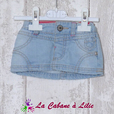 ♥ Jupe Jeans Bleu Beige Rose Taille Ajustable BOITE A MALICES 3 Mois ♥ L934