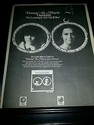Donny & Marie Osmond I'm Leaving It Up To You Rare Promo Poster Ad Framed!