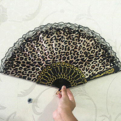 Brown Leopard design Print Fabric Folding Hand Fan black lace trim #/