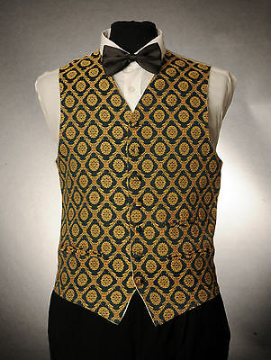 W - 1015. Mens/boys Royal Green & Gold Waistcoat / Dress/ Suit / Party / Formal