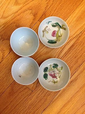 Two Chinese Porcelain Tea Cups Saucers 19th Century Famille Rose Tongzhi Era Wow
