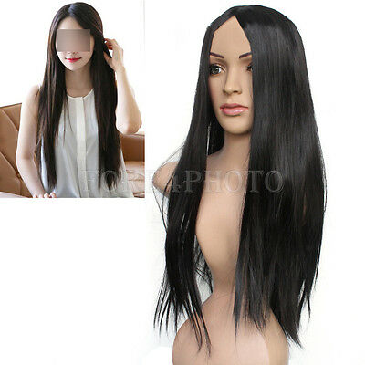 New Vogue Black Long Straight Synthetic Hair Cosplay Party Women's Full Wigs