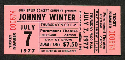 1977 Johnny Winter unused full concert ticket Portland OR Nothin But The Blues