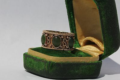 Antique 14K Gold Chinese Export Green Jade? Tourmaline Ring Band Signed