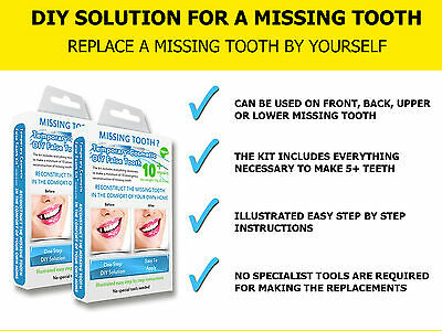 TEMPORARY COSMETIC TOOTH FALSE TEETH REPLACEMENT REPAIR DIY TEMPTOOTH - Two Pack