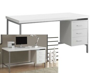 Modern Computer Desk White Wood Table Home Office Workstation Furniture  NEW