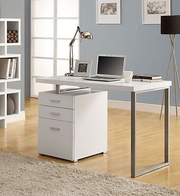 Contemporary Computer Desk White Wood Table Home Office Workstation Furniture  A