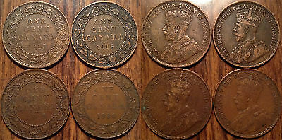 1917-1918-1919-1920 Canada Large Cents Lot of 4 coins Grade VG-F Cheap Price !!