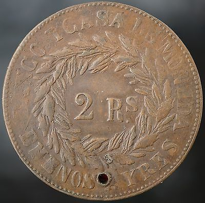 1860 Argentina BUENOS AIRES 2 Reales KM# 11
