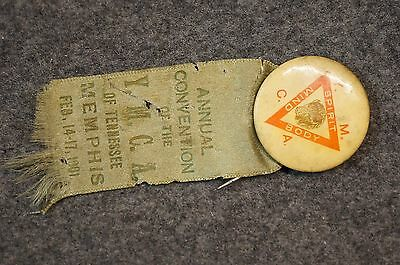 Early 1901 YMCA Memphis Tennessee Pinback Young Men Christian Association