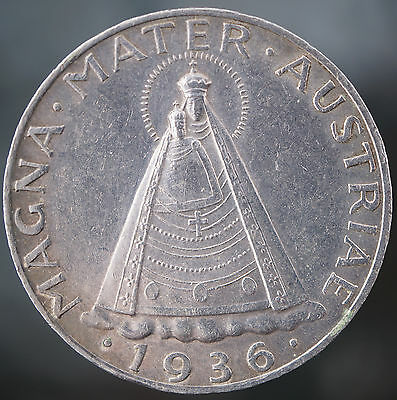 1936 Austria 5 Schilling KM# 2853  Madonna of Mariazell Silver Coin Key Date