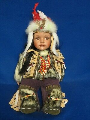 "Cathay Collection 2 Native American Porcelain Dolls w/Boxes 21"" + 23"""