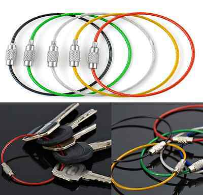 Stainless Steel Wire Key Chain Cable Key Ring Outdoor Hiking Camping 15 cm 5pcs