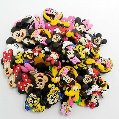 100pcs Shoe Charms with  Mickey Minnie Pluto Decoration for Croc&Jibbitz Gifts