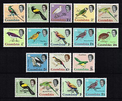 Gambia 1963 birds set to £1, MH (SG#193/209)