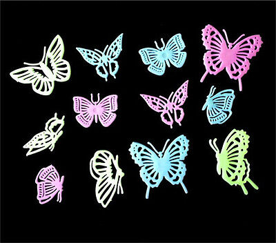 12 Pcs Glow in the Dark Butterfly sticker/Fluorescent Wall Art/party Decoration