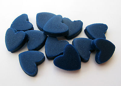 50 NAVY BLUE mini love hearts edible sugar cake topper decorations sprinkles 1cm