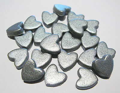 50 SILVER mini love hearts edible sugar cake topper decorations sprinkles 1cm