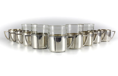 9pc Set of WMF Silverplate Cup Holders & 5 Glass Inserts by Janaer Glas; Beaded
